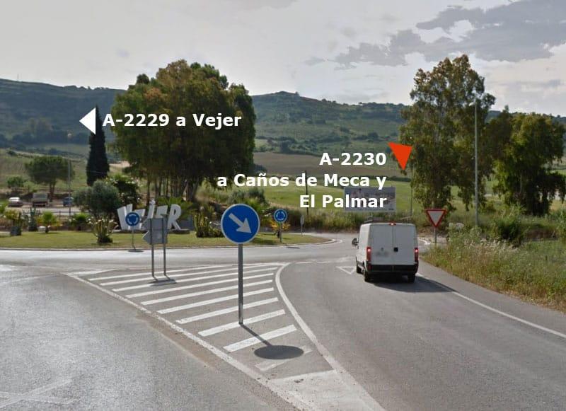 Localización - Rotonda de acceso a Vejer y Playas