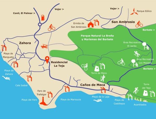 Mapa de la zona de Zahora